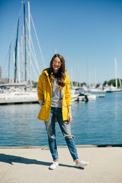kelly in the city - a preppy chicago life,blogger,jacket,t-shirt,jeans,yellow,yellow jacket,stripes,striped top,ripped jeans,white sneakers,beach,style and fashion blog