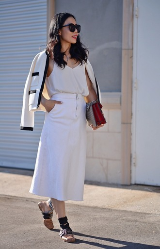hallie daily blogger jacket sunglasses tank top bag white top white skirt flats cape gucci gucci bag pocket jacket white jacket