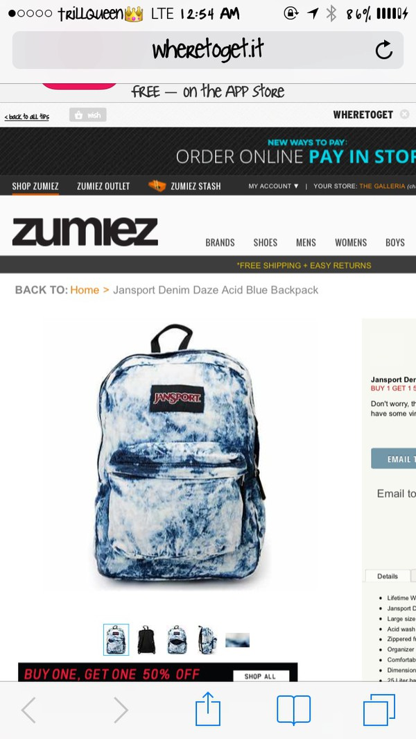 bag acid wash denim backpack