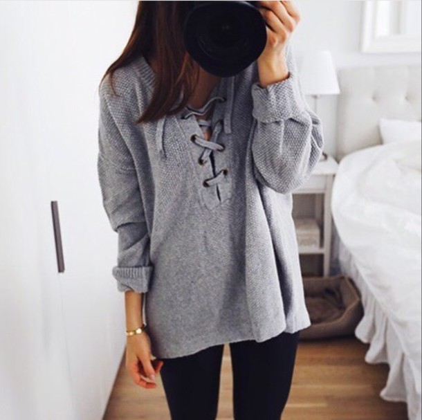 9d38c8954b sweater top lace grey sweater grey pullover lace up sweatshirt oversized  oversized sweater.
