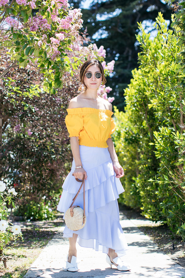 0977f7bfbe3 top tumblr off the shoulder off the shoulder top yellow yellow top skirt  midi skirt asymmetrical.