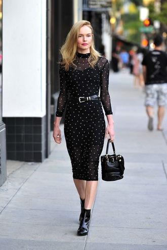 lefashion blogger dress bag belt black dress midi dress handbag ankle boots polka dots