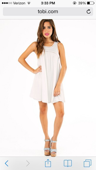 dress cute nice casual white clothes white dress cute dress girl summer look outfit shift dress fancy shift tobi online