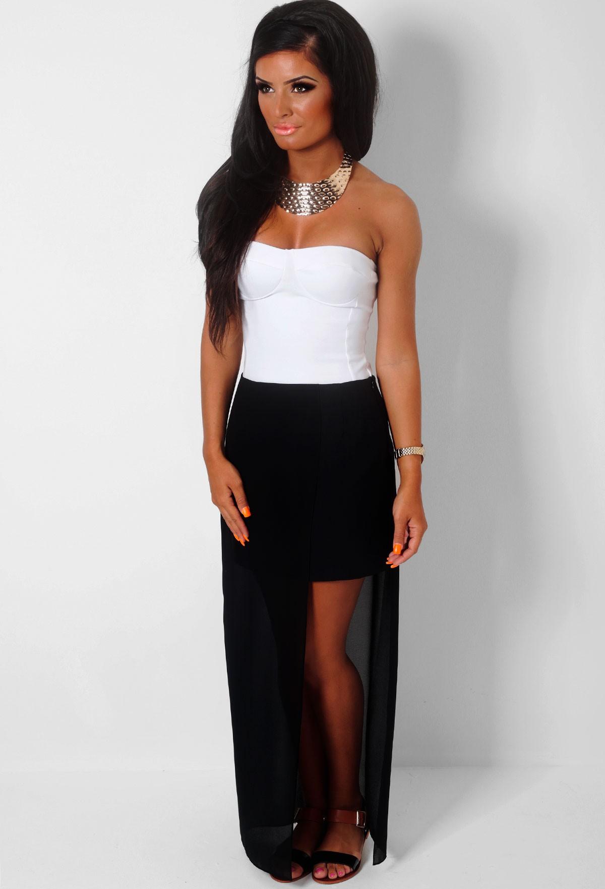 Judi black chiffon overlay maxi skirt