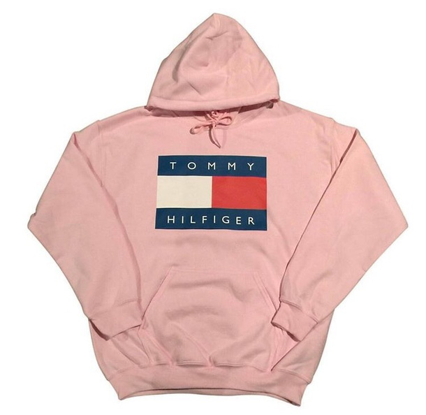 sweater hoodie tommy hilfiger pink black white