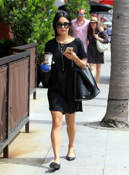 dress ballet flats flats vanessa hudgens sunglasses summer outfits black leather bag tunic dress