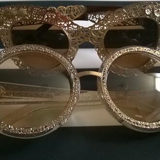 sunglasses shopwithjewelz karen walker karen walker sunglasses gold sunglasses sparkle shimmering oversized sunglasses round sunglasses