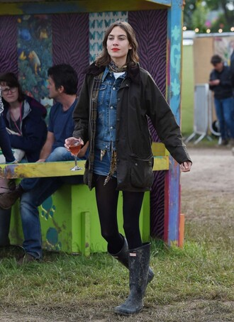 jacket boots shorts alexa chung denim jacket denim music festival