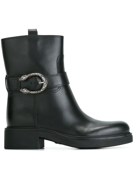 gucci women ankle boots leather black shoes