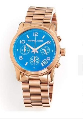 watch blue dial rose gold watch micheal kors watch jewels