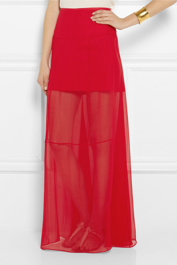 skirt theyskens' theory silk-chiffon maxi skirt theyskens' theory silk-chiffon maxi skirt