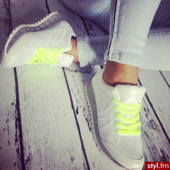shoes yellow neon grey