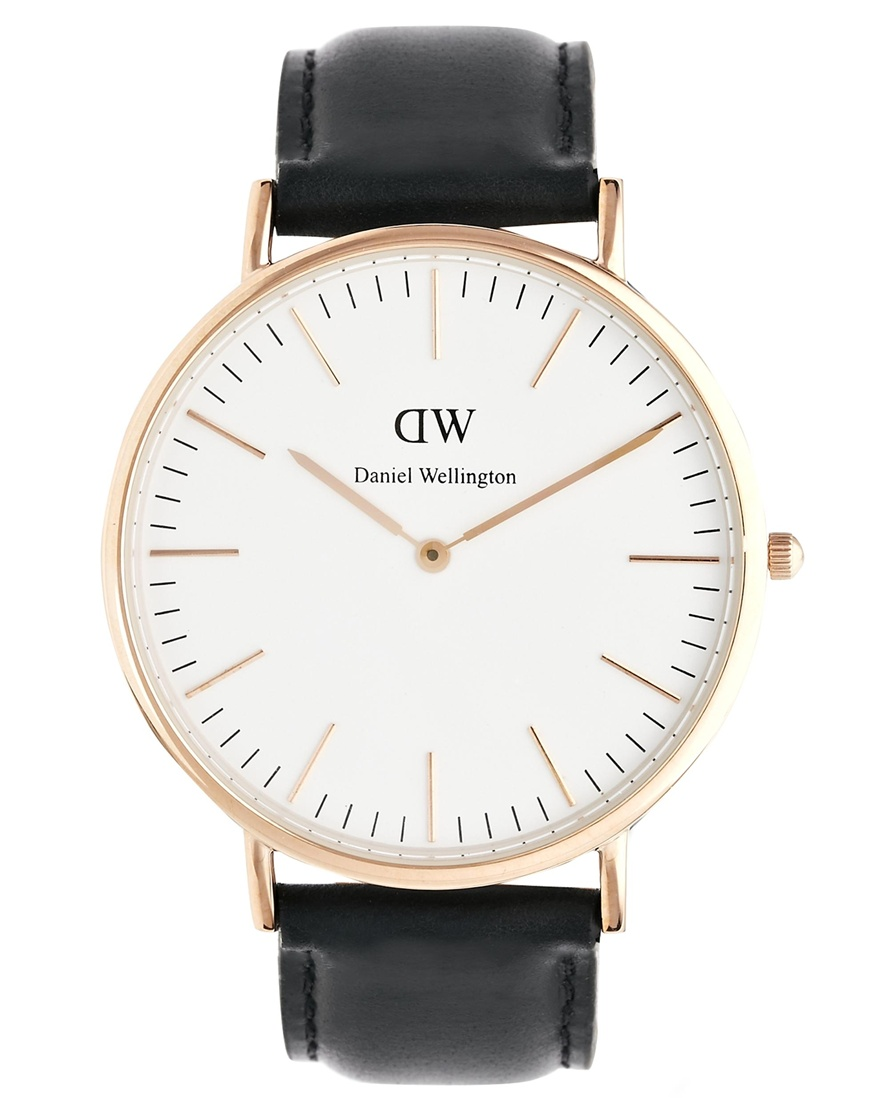 Daniel Wellington Sheffield Rose Gold Black Leather Strap Watch at asos.com