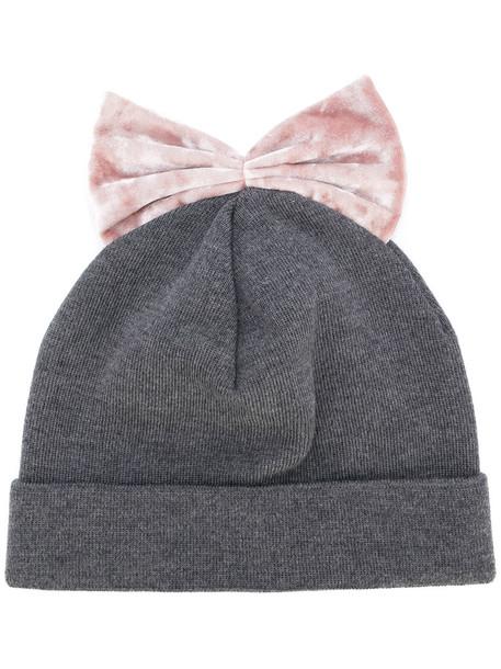 bow beanie velvet hat
