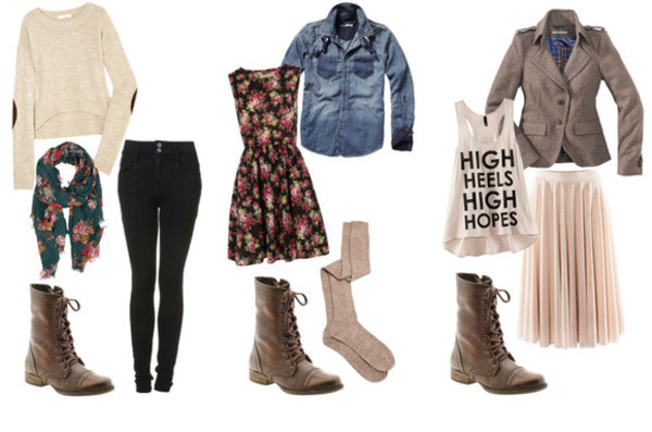 shirt combat boots brown combat boots pants black scarf floral dress knee high socks denim jacket bag