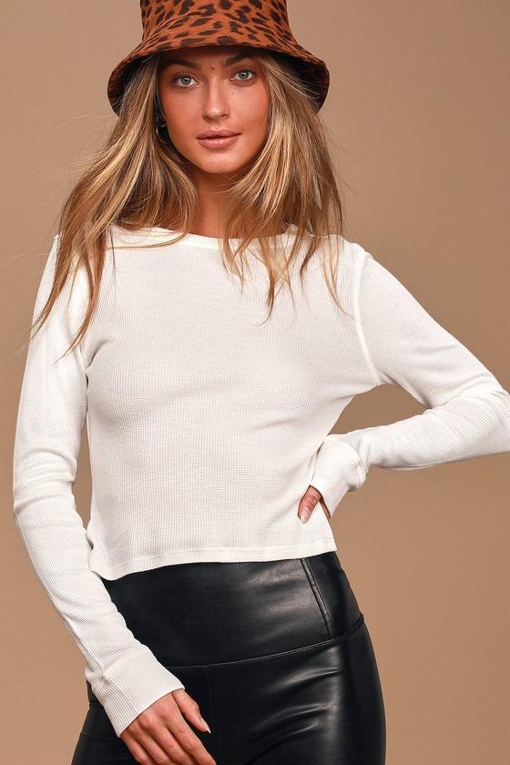 Basic Babe White Thermal Long Sleeve Top