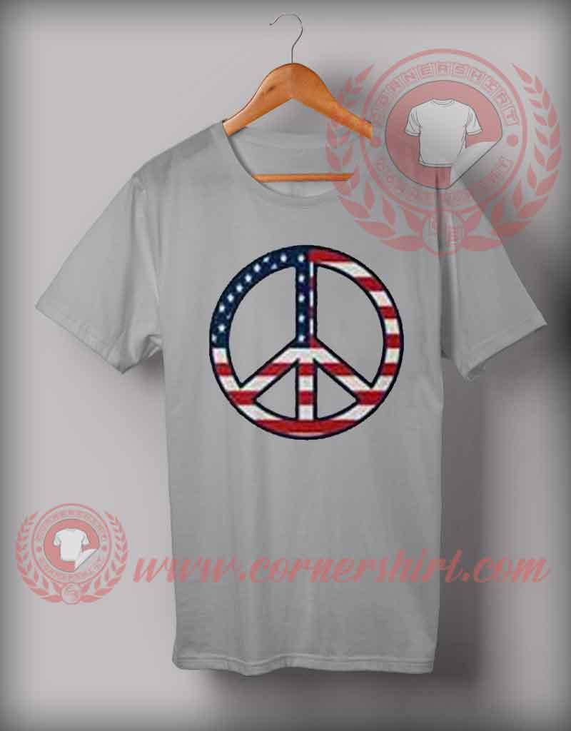 Cheap Custom Made Peace John Mayer American Flag T Shirts
