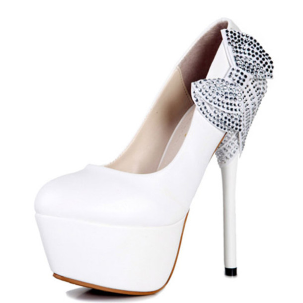 Shoes: white, silver dimonds, high heels, white high heels ...