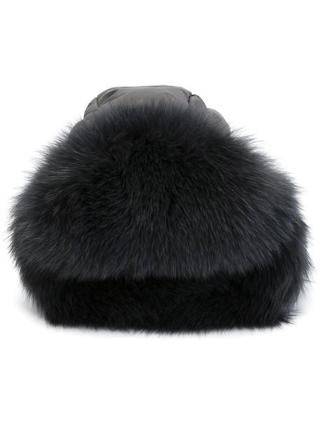 fur fox women hat grey