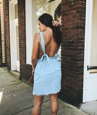 dress tumblr denim denim dress open back backless backless dress blue dress frayed denim