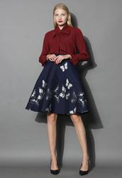skirt,serene butterfly intarsia a-line skirt,chicwish,a-line skirt