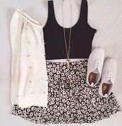 sweater,jumper,skirt,necklace,crop,top,crop tops,flowers,jewels,shoes,tank top,flowered skirt,white soft sweater,cardigan,floral
