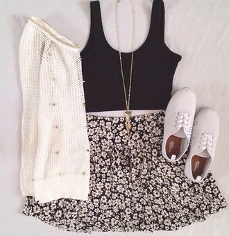 sweater jumper skirt necklace crop top crop tops flowers jewels shoes tank top flowered skirt white soft sweater cardigan flowers print