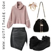 sweater,outfit made,turtleneck,fall outfits,knitwear,pink,grey,skirt,leather skirt,bag,jewels
