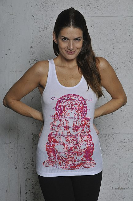 Ganesh Rib Tank Top Shirt - White (Red Ink)