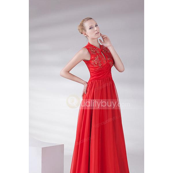 Romantic Red Elegant Chiffon Floor-length Evening Dress_$152.99