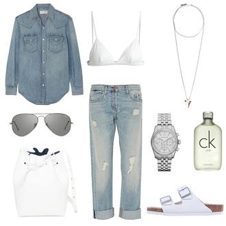 oracle fox blogger denim shirt ripped jeans birkenstocks shirt jewels sunglasses jeans bag