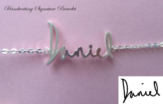 Silver name bracelet  memorial handwriting bracelet  by bestyle