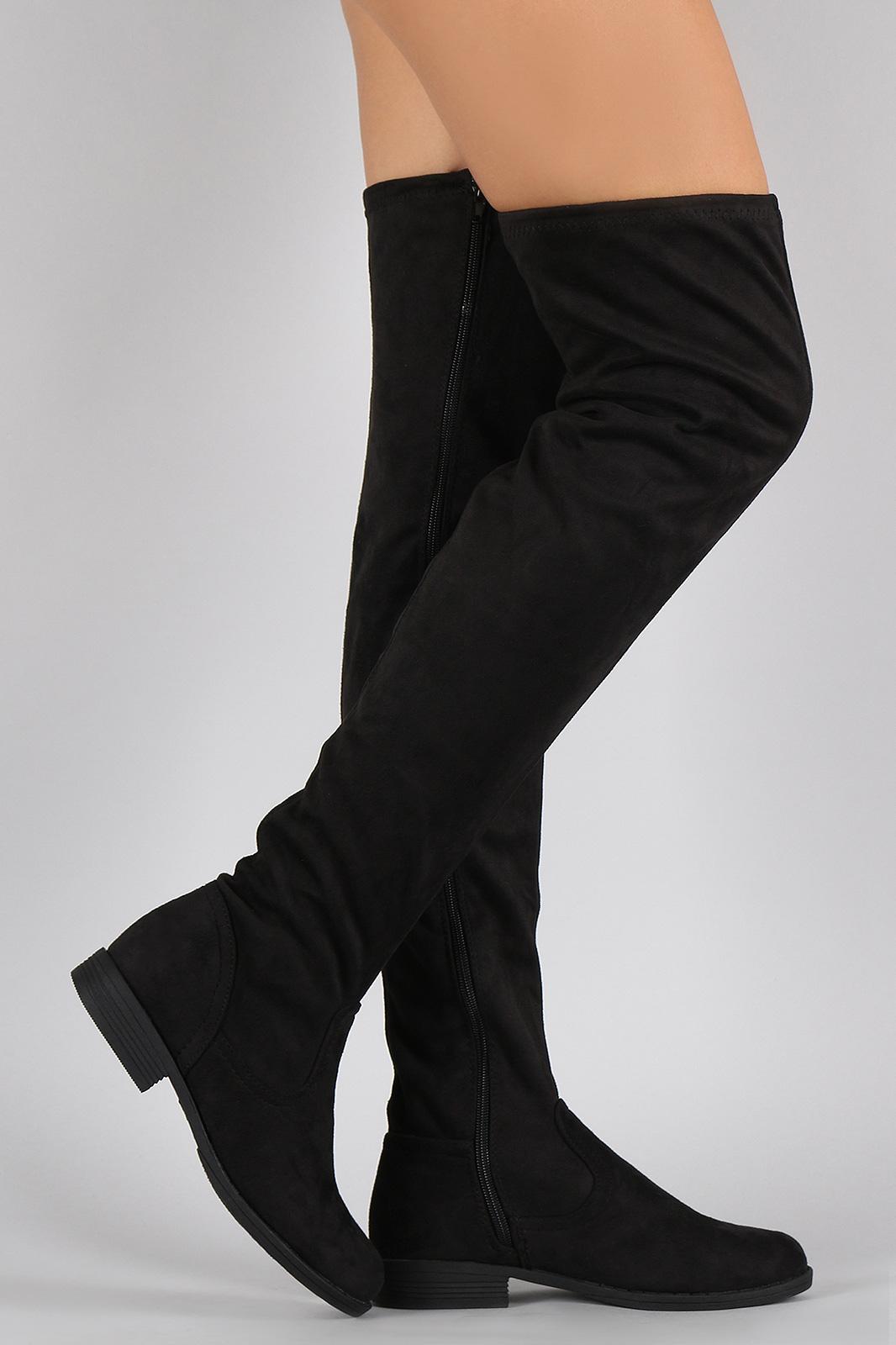 7818d44b300 Bamboo Vegan Suede Flat Thigh High Boots