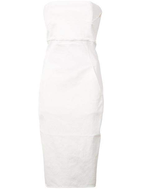 Rick Owens dress bustier dress women spandex white cotton