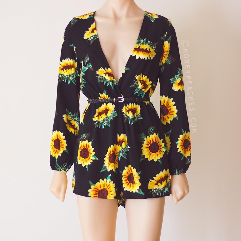 Sunflower daze playsuit – honey peaches