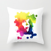 home accessory,vibrant colors,portrait,color/pattern,ink,art,design,style,painting,pillow