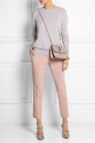pants valentino bag pink pants pink capri pants sweater grey sweater bag grey bag pastel bag valentino high heel sandals sandals strappy sandals animal print spring outfits