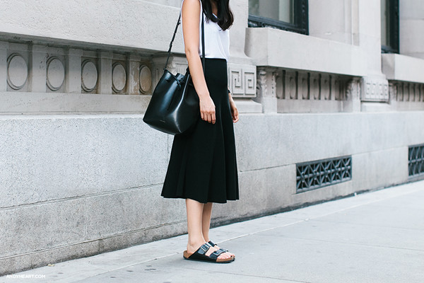 andy heart t-shirt bag jewels shoes skirt black slides slide shoes midi skirt black skirt top white top bucket bag black bag mansur gavriel birkenstocks
