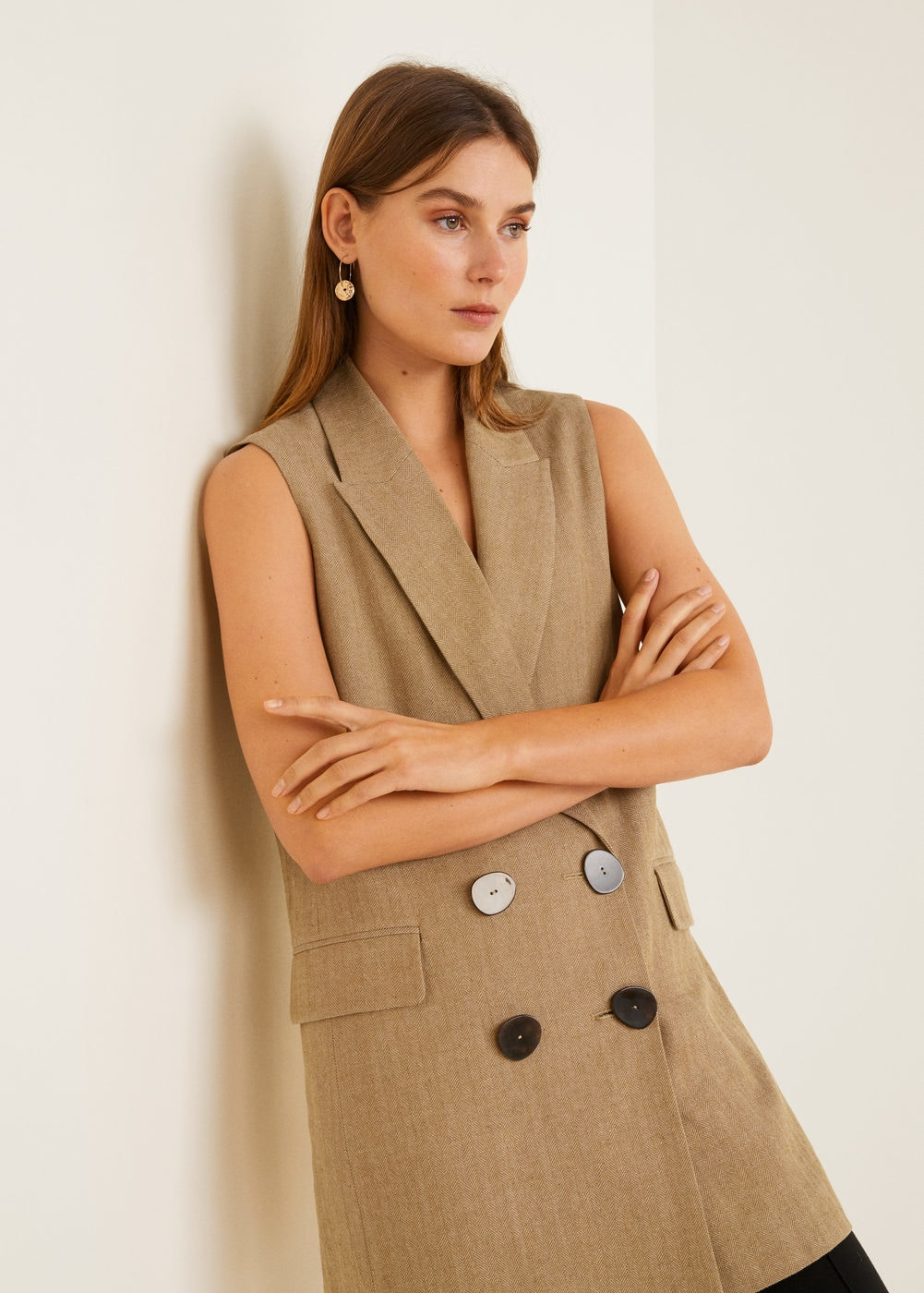 Linen-blend pocket vest - Women | Mango USA