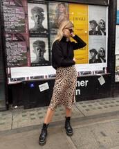 skirt,midi skirt,leopard print,silk,platform boots,turtleneck,sunglasses