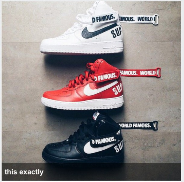 shoes white black red nike air force 1