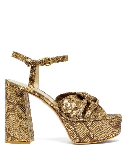 Gianvito Rossi - Dallas 70 Knotted Python Effect Leather Sandals - Womens - Gold