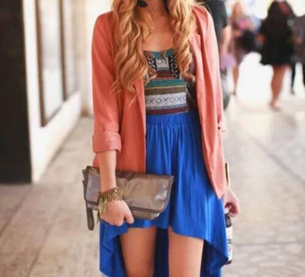 dress shirt courset blue skirt skirt sweater high low skirt coat underwear
