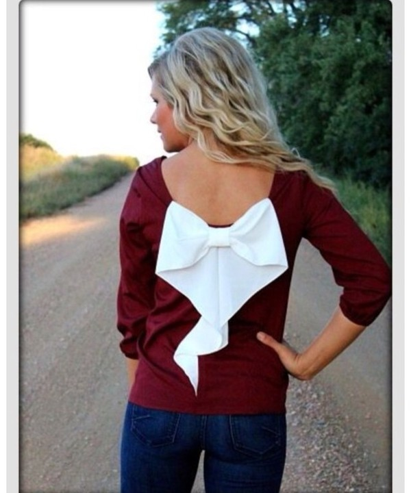blouse clothes clothes red sweater winter sweater shirt burgundy bow top