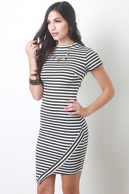 Striped Asymmetrical Bodycon Dress