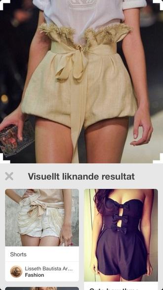 pants gold ss16 spring summer fashion waist belt shorts paperbag waist belt