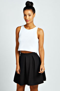 Lynsey Waffle Box Pleat Skater Skirt at boohoo.com