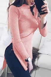 sweater,pink,fashion,style,trendy,casual,turtleneck,long sleeves,beautifulhalo