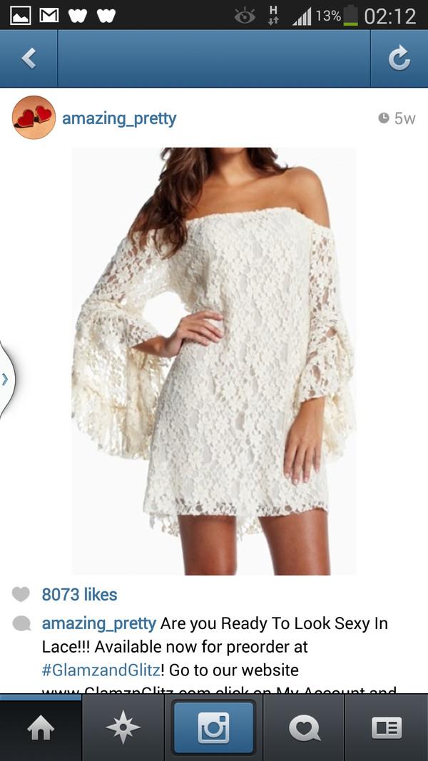 dress white lace off the shoulder dress