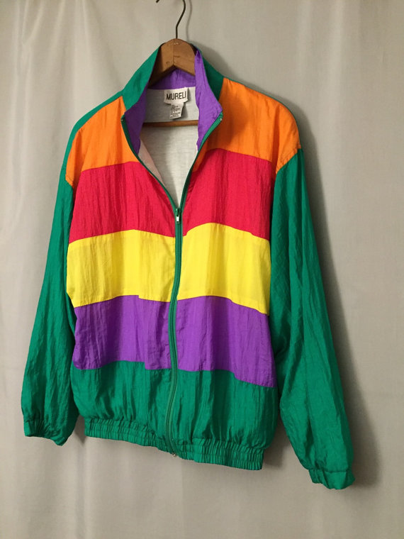 Green Jacket Red Orange Yellow Purple Striped Windbreaker Oversize Zip Tracksuit Size Small